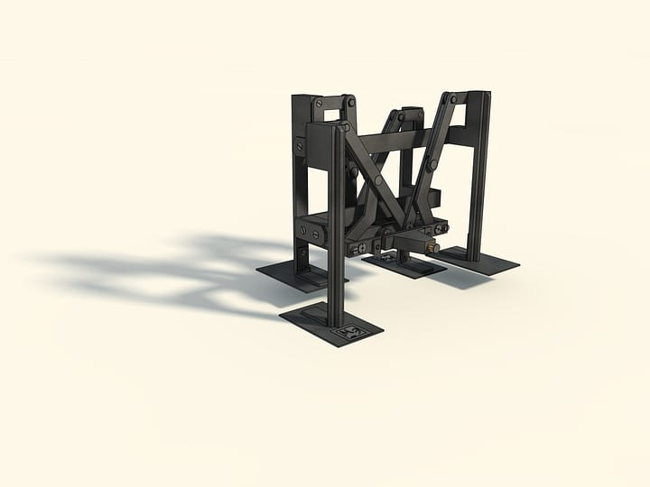 Mechanisms by P. L. Tchebyshev — Plantigrade machine (in metal) — Reconstruction